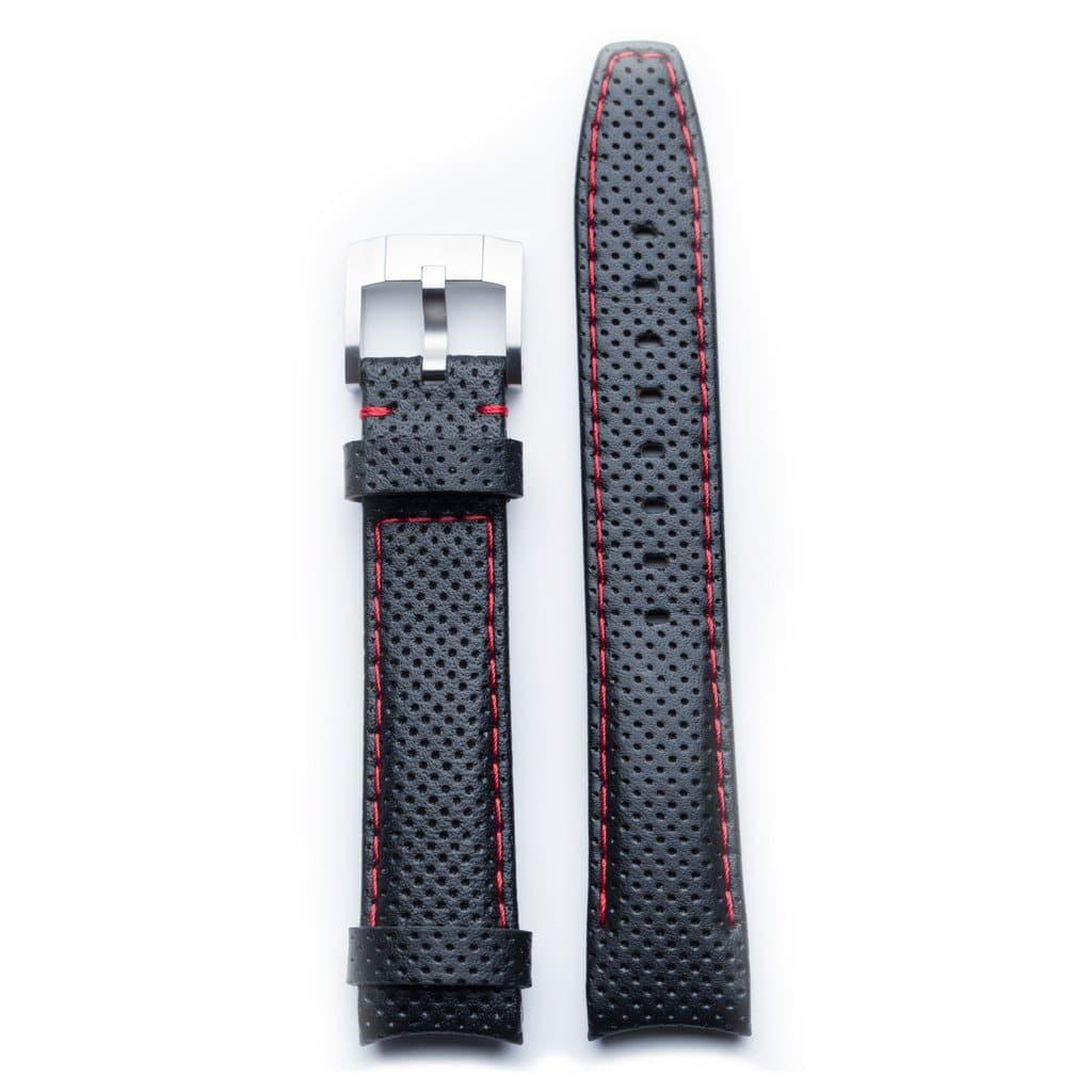 Everest Lederarmband mit Schließe - Black/Red