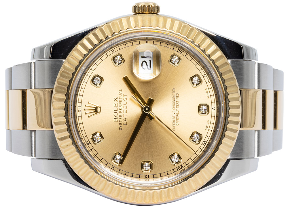Rolex Datejust II, Champagne, Diamant, Oyster