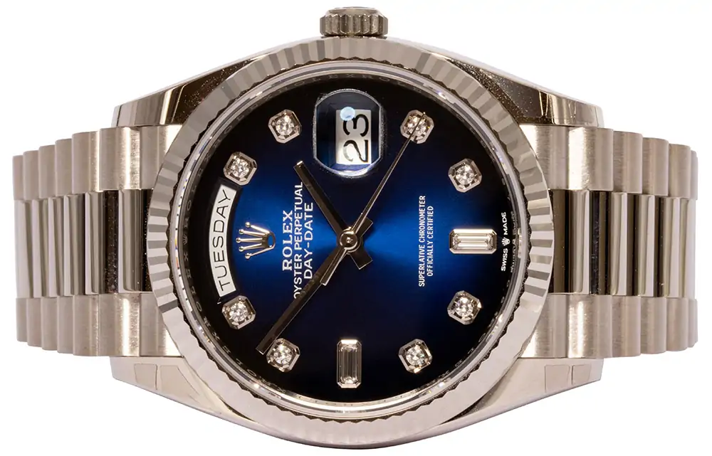 Rolex Day-Date 36 blue ombré diamond dial