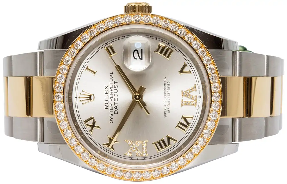 Rolex Datejust 36mm silver diamond oyster 126283RBR