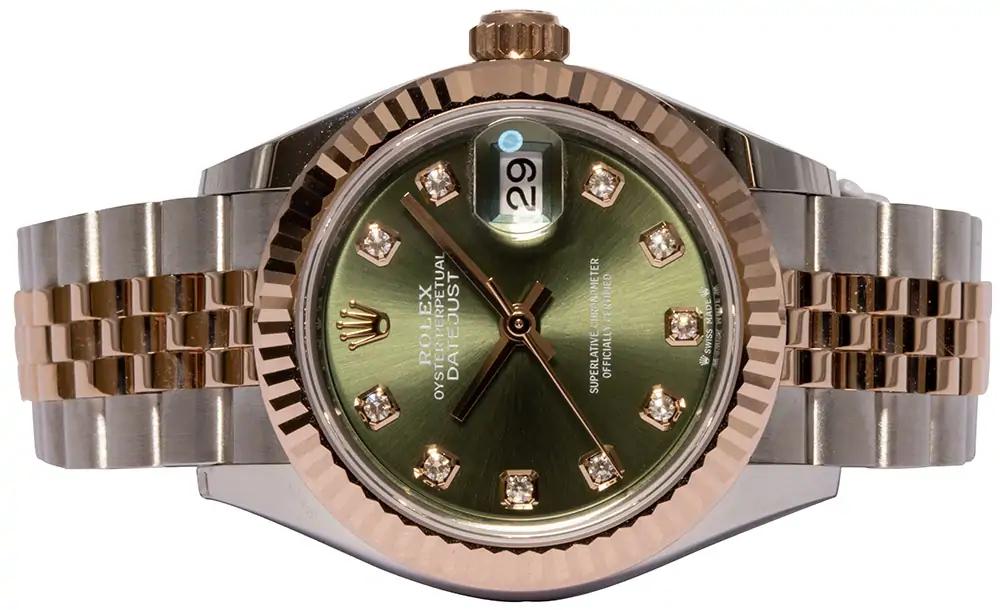 Rolex Lady-Datejust 28, Oliv, Diamant, Jubilee